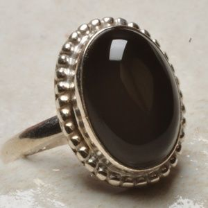 Natural Black Onyx Ring, Silver .925  Size 6.50